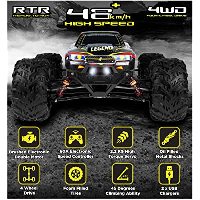 1:10 Scale Large RC Cars 48+ kmh Speed - Boys Remote Control Car 4x4 Off Road Monster Truck Electric