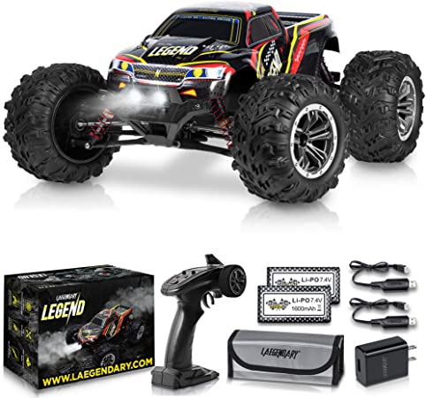 1:16 Scale Large RC Cars 36+ km h Speed - Boys Remote Control Car 4x4 Off Road Monster Truck Electric - All Terrain Waterproof Toys Trucks for Kids and Adults - 2 Batteries + Connector for 40+ Min Play